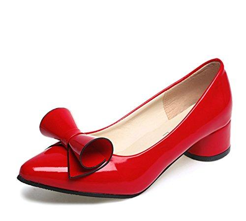 Rosa Casual Tacchi PU Comfort donna Grigio Rosso da Primavera Rosso Autunno Scarpe per Bianco Nero wUF8xn