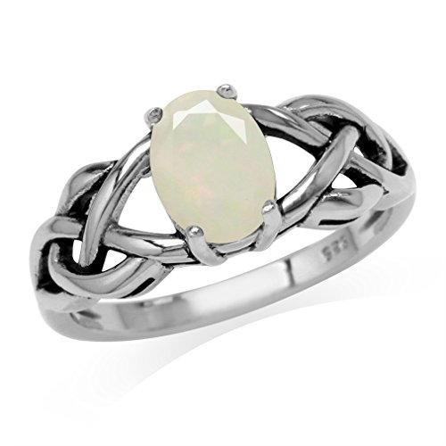 Genuine Opal 925 Sterling Silver Celtic Knot Solitaire Ring Size 11 ()