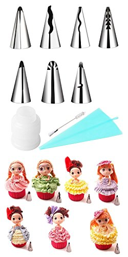 Russian Piping Tips 10Pcs/set, KOOTIPS 7pcs Tips 1 Adapter 1pc Spot of bother 1pc Silicone Bag Stainless Steel Decoration Tips Korean Bobbi Skirt Icing Tips Set Cake Decorating Supplies