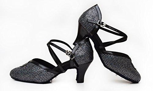 TDA Womens Comfort Ankle Strap Buckle Glitter Salsa Tango Ballroom Latin Modern Dance Shoes Black vX9w0QTXq