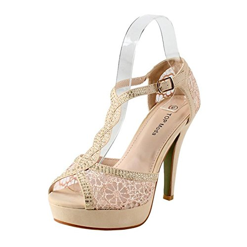 (TOP Moda Hy-5 Open Toe Crochet High Heel Sandals, TS Hy-5 Beige Size)