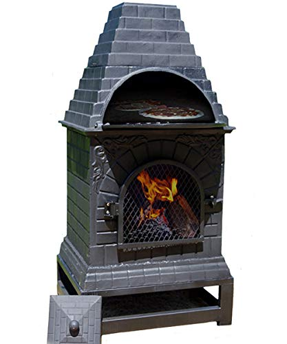 The Blue Rooster Cast Iron Casita Wood Burning Chiminea in Charcoal.