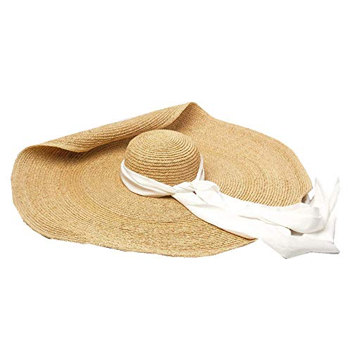 JJLIKER Womens Sun Straw Hat Oversized Wide Brim Summer Hat Foldable Roll up Floppy Beach Hats Cap Packable for Travel White