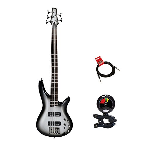 Ibanez SR305EMSS 5 string Electric Bass Guitar Package Bundle with Mahogany Body in Metallic Silver Sunburst With Guitas Clip On Tuner and Instrument Cable Bundle