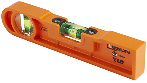 (Keson LKTRF ABS Plastic Rounded Torpedo Level with 2 20% Magnified Vials, 9-Inch)