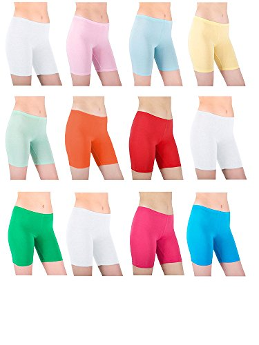 Sexy Basics Womens 12 Pack Sheer & Sexy Cotton Spandex Boyshort Yoga Boxer Briefs (small, CPK2) (Boxers Sheer Spandex)