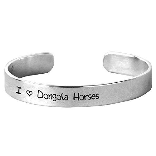NanaTheNoodle I Love Dongola Horses - Unisex Hand-Stamped Aluminium Bracelet