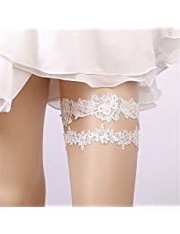 Wedding Festival European and American Bridal Garter White Lace Garter Strap Ring 1 Piece Set (2 Pieces). Lace Optional (Color : White)
