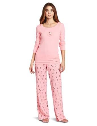 Hue Sleepwear Women's Baa Baa Thermal Set, Pink, Medium