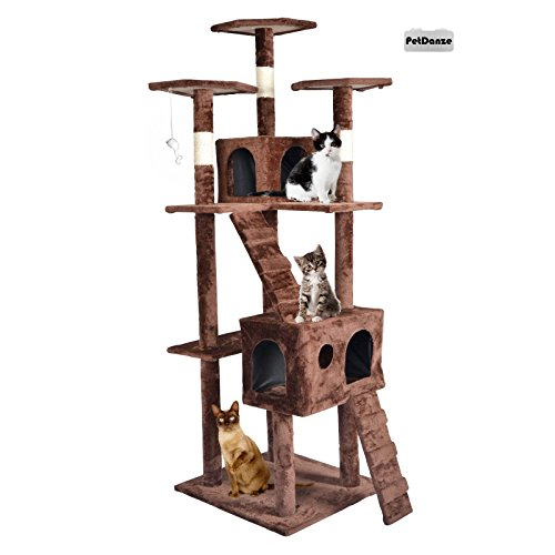 PetDanze Cat Tree Kitten Condo Post Scratcher | Kitty Tower Scratching Post Furniture | Cat Climbers Play House | 73'' Height, Brown by PetDanze