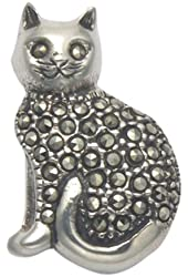 Sterling Silver Sitting Cat Pin with Marcasite Stones
