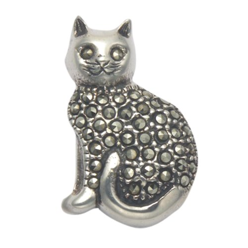 Wild Things Sterling Silver Sitting Cat Pin w/Marcasite Stones