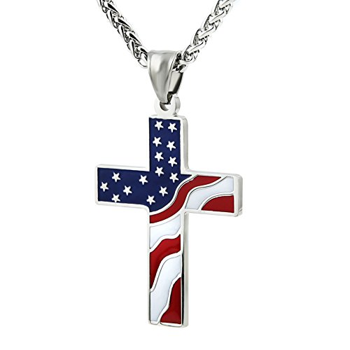 Patriotic Jewelry (HZMAN American Flag Patriotic Cross Religious Jewelry Enamel Pendant Necklace, Silver)