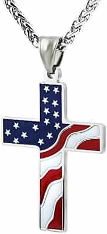 HZMAN American Flag Patriotic Cross Religious Jewelry Enamel Pendant Necklace