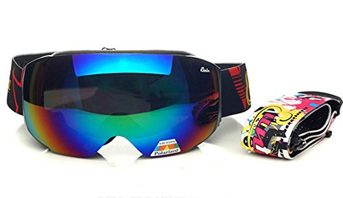 The Polarized and Yellow Brighter Interchangeable Spherical Lenses Anti-fog Anti-explosion Dual-optic 'Fit Over Glasses'(OTG) and Normal Vision Pro Ski And Outdoor Goggles (Black - Is It Lenses Worth Polarized