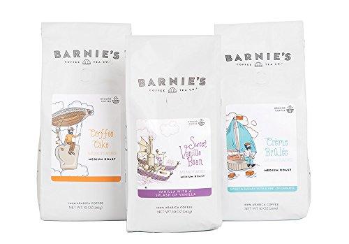 Barnie's Coffee & Tea Decadent Dessert Ground Coffee Trio, Coffee Cake, Crème Brulee, Sweet Vanilla Bean, Medium Roast, Arabica Coffee, Three 10 oz Bags