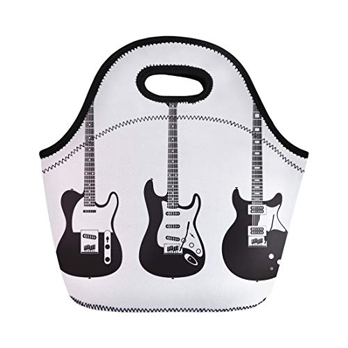 Semtomn Neoprene Lunch Tote Bag February 10 of Black and White Electric Guitars Popular Reusable Cooler Bags Insulated Thermal Picnic Handbag for Travel,School,Outdoors,Work