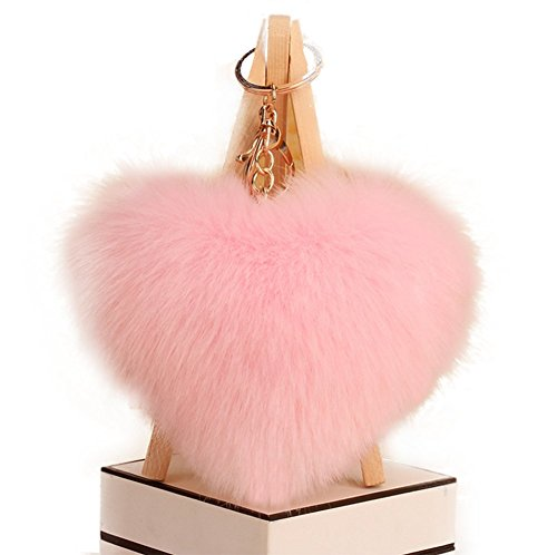 Qingsun Love Heart Fluffy Keychain Pom Pom Fluffy Key Chain Faux Rabbit Fur Ball key ring Bag Car Pendant(Light Pink)