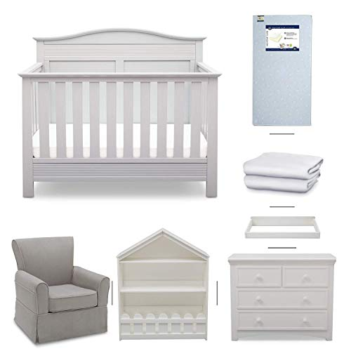 Serta Barrett 7-Piece Nursery Furniture Set - Convertible Crib, Dresser, Changing Top, Bookcase, Crib Mattress, Glider, Crib Sheets - Bianca White