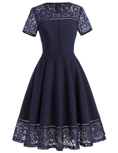 Womens Casual Short Sleeve Floral Lace Patchwork Midi Dress M BP286-1