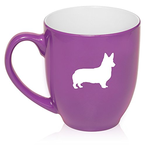 - 16 oz Purple Large Bistro Mug Ceramic Coffee Tea Glass Cup Corgi
