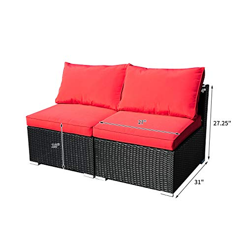 DOIT Outdoor Rattan Patio Garden Sofa,Wicker Patio Sectional Furniture Sofa Outside,Party Sofa Conversation Set with Cushions and Glass Coffee Table 2 Pcs Wicker Sofa Sets Red