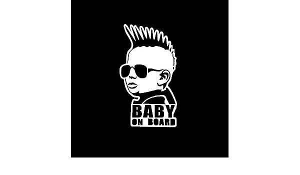 WHITE Baby on Board funny Mohawk vinyl decal window sticker Suv Car Minivan