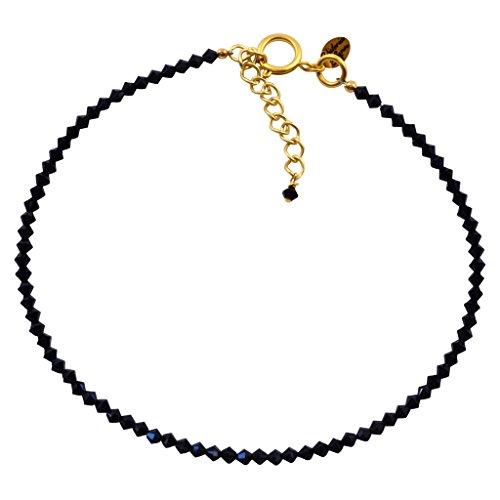 - Victoria Lynn Sea Jasper Choker Necklace with Jet Swarovski Crystal, Gold Plated