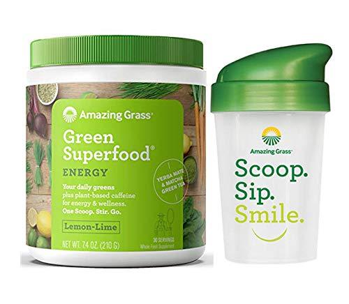 Amazing Grass Energy Green Superfood Lemon Lime Flavor 30 Serv + Bonus Shaker Cup | for Health + Wellness, Digestion and Alkalinity Balance | Vegan, Kosher, Gluten- Free