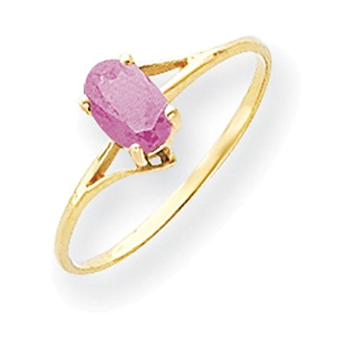 Jewelry Adviser Rings 14k 6x4mm Oval Pink Tourmaline ring