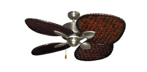 Woven Bamboo Fan Blades (Palm Breeze II Tropical Palm Ceiling Fan in Satin Steel with 48