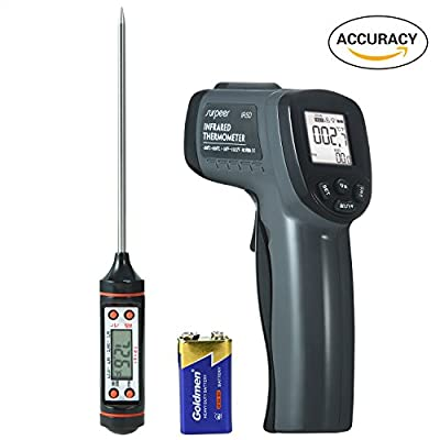 Infrared Thermometer, SURPEER IR5D Digital Temperature Gun - Non Contact Laser Pyrometer - Handheld Tool for House/Cooking/Grill/Car - Cat and Dog Fun Toy - Meat Thermometer Included by SURPEER