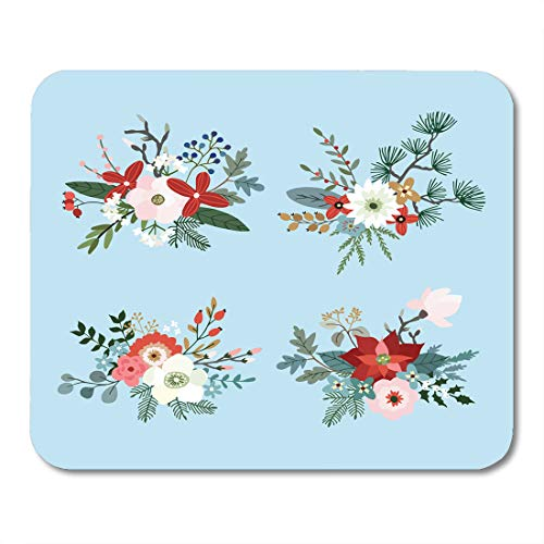 Nakamela Mouse Pads Christmas Bouquets Made Fir Pine and Eucalyptus Tree Branches Poinsettia Mums Magnolia Flowers Holly Mouse mats 9.5
