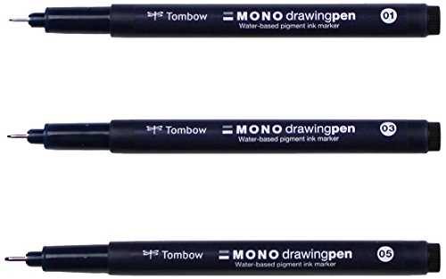 Black Nonrefillable Pen (Tombow 66403 MONO Drawing Pen, 3-Pack. Create Precise, Detailed Drawings with Three Tip Sizes – 01, 03 and 05)