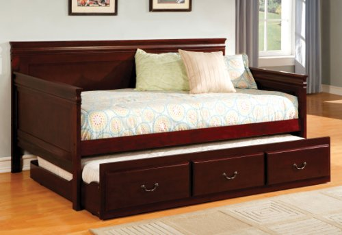 Cherry Daybed Trundle (Furniture of America Gregory English Platform Daybed with Trundle, Cherry Finish)