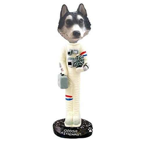 Black and White with Brown Eyes Siberian Husky Astronaut Doogie Collectible Figurine (Siberian White Husky Figurine)