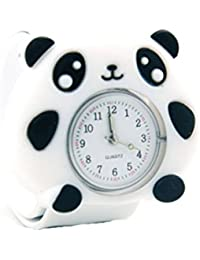 Lovely Top Quality Boys Girls Fashion Cartoon Animal Silicone Slap Snap On Wrist Watch -White