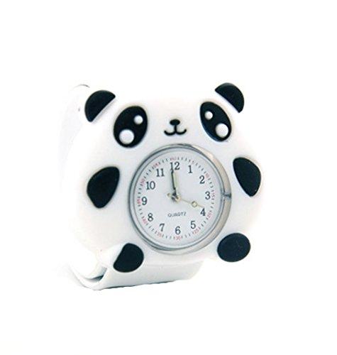 Vavna Lovely Top Quality Boys Girls Fashion Cartoon Animal Silicone Slap Snap On Wrist Watch -White Panda (Panda Watch)