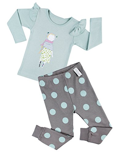 Unifriend Girls Character print Top&Polka Dots Pant Set US 7~8Y/Asia 140 (KGSPJ043)