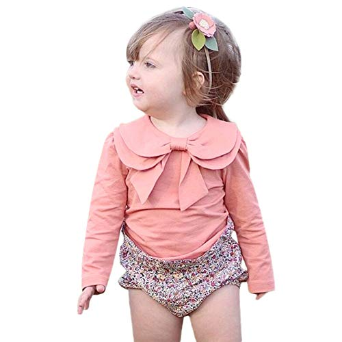 Kimono Lulu (Sunhusing Children's Solid Color Long Sleeve Bowknot Doll Collar T-Shirt Top Toddler Adorable Baby Basic Shirts)
