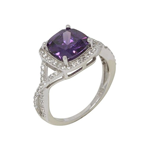 Halo Infinity Shank Engagement Ring Round Cubic Zirconia Cushion Simulated Purple Amethyst 925 Sterling Silver Size 8