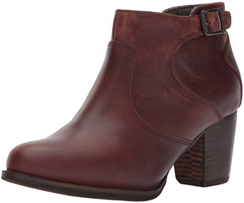 Leather Waterproof Heels (Caterpillar Women's Trestle Waterproof Leather Bootie with Side Zip Abd Stacked Heel Ankle Boot, Tea / Tawny, 8.5 Medium US)