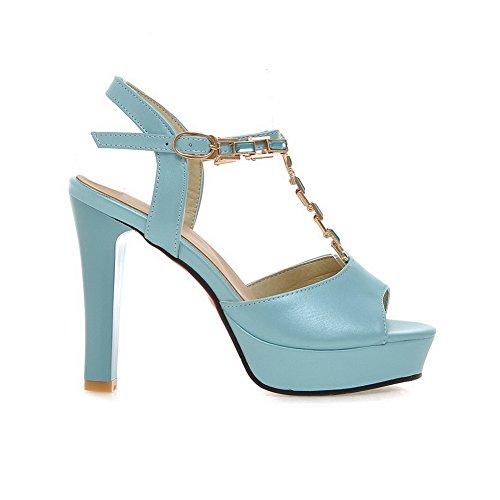 AllhqFashion Women's Pu High Heels Open Toe Solid Buckle Heeled-Sandals with Glass Diamond Blue Kca0x26dX