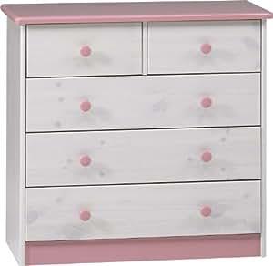 Steens 1780120251 - Cómoda con 3 cajones grandes y 2 cajones pequeños para niñas, color rosa