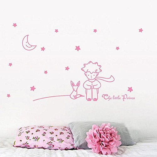Little Star Wall Border - Huikeer Wall Stickers Stars Moon The Little Prince Fashion Design DIY Wall Decoration Removable 3D Art Vinyl Sticker Decal for Home Living Room Bedroom Bathroom Kitchen Decor Mural Quotes Wall