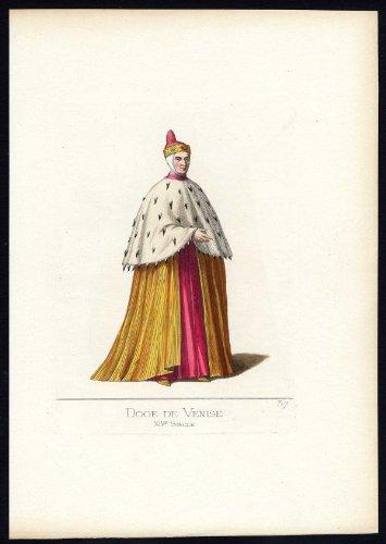 Fourteenth-century Italy Costumes (Antique Print-VENICE-DOGE-ITALY-COSTUME-14TH CENTURY-PL 37-Bonnard-Mercuri-1860)