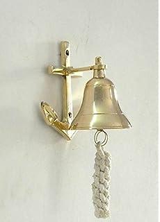 Roorkee Instruments (India) Brass Ship Bell With Wheel Bracket   Decor Door  Bell