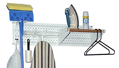 - Wall Control Narrow Pegboard Laundry Room Organizer Kit 8in Tall x 32in Wide in White
