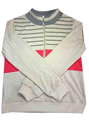 Jaycargogo Womens Slim Stripe Knit Half Zip Pullover Sweatershirt Khaki L