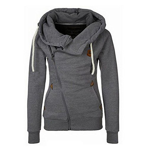 Newbestyle Women Oblique Funnel Neck Zipper Up Hoodies Casual Long Sleeve Sweatshirt Coat Dark Grey L